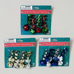 144 Units of Ornament Metal Spiral W/bell 4pk 4asst Colors Gov Xmas Tie Card SILVER/GOLD RED/GREEN SILVER/BLUE RED/GOLD - Christmas Ornament