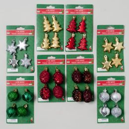 144 Units of Ornament Mini 4pk Glass-look 4shapes Tree/cone/onion/star Ea In 4 Colors Gov Xmas Tie-on Card - Christmas Ornament
