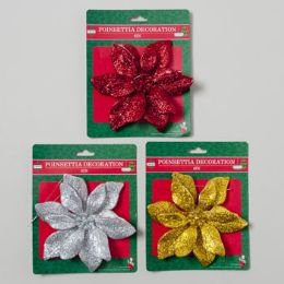 144 Units of Ornament Poinsetta Glitter 6in Plastic - Christmas Ornament