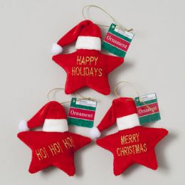 96 Units of Ornament Velvet Star Shape W/ Santa Hat & Wording - Christmas Ornament