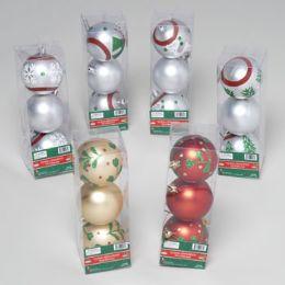 96 Units of Ornaments Ball 3pk 60mm Matte Paint/glitter Stripe/holly - Christmas Ornament