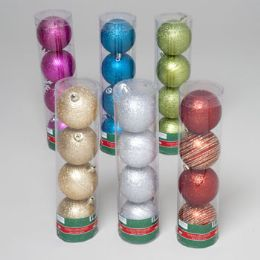 144 Units of Ornaments Glitter Ball 4pk 60mm 6asst Color Acetate Tube - Christmas Ornament