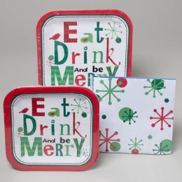 96 Units of Paper Party Christmas Tableware Square Shape/be Merry - Christmas Novelties