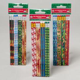96 Units of Pencils 8ct Christmas 3ast/4 Designs Per Pack Printed - Christmas Novelties