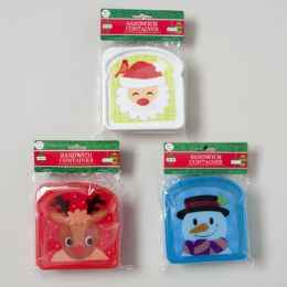 108 Units of Sandwich Container Christmas Reindeer/santa/snowman Decal - Christmas Novelties