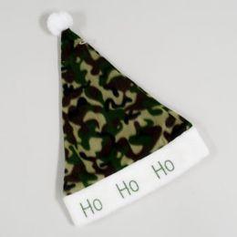 96 Units of Santa Hat Camouflage Fleece W/embroid Ho-ho Plush Trim - Christmas Novelties