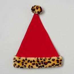 48 Units of Santa Hat Red Velvet W/plush Leopard Cuff & Ball - Christmas Novelties