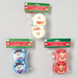108 Units of Snack Cups W/spoons 2pk - Christmas Novelties