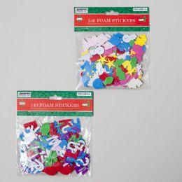 144 Units of Stickers Foam 140ct Christmas Shapes Multicolor - Christmas Novelties
