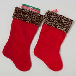 72 Units of Stocking Red Velvet W/plush Leopard Cuff - Christmas Stocking