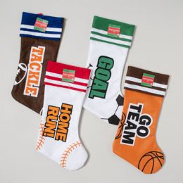 96 Units of Stocking Sport 4ast 18in Goal/go Team/tackle/home Run - Christmas Stocking