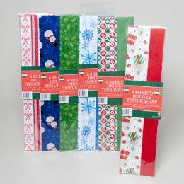 144 Units of Tissue Paper Christmas 6prints - Christmas Novelties