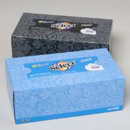 108 Units of Facial Tissue 160 Ct White Select Flat Boxed 6 Colors Assorted In Case - Tissues