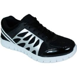 12 Units of Mens Running Sneakers In Black And Grey - Men's Shoes