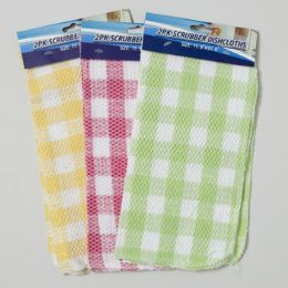 144 Units of Scrubber Dishcloth 2pk 12inch Square 3ast Checkerboarrd Colors - Cleaning Products
