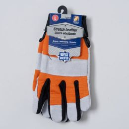 48 Units of Gloves Stretch Leather Large Spandex Back Grey/orange - Leather Gloves