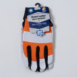 48 Units of Gloves Stretch Leather Medium Spandex Back Grey/orange - Leather Gloves
