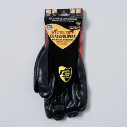 96 Units of Gloves Wet/oil Grip Black One Size Fits Most - Working Gloves