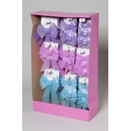 108 Units of Bow Easter Glitter 54pc Shipper 1-3pk Purple/sky Blue/pink Clr Gov Easter Tie On Card - EASTER