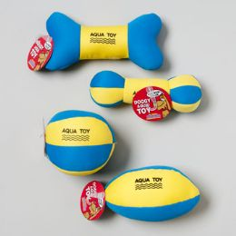 36 Units of Dog Toy Aqua Flotable W/sqkr Blue/yellow 4 Styles In Pdq Hang Tag - Pet Toys