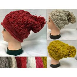 36 Units of Knitted Winter Hats with Pompom Ball - Knitted Stretch Gloves