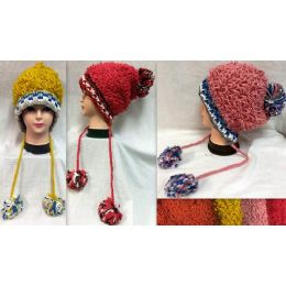 36 Units of Thread Loops Knitted Winter Hats With Pompom Balls - Fashion Winter Hats