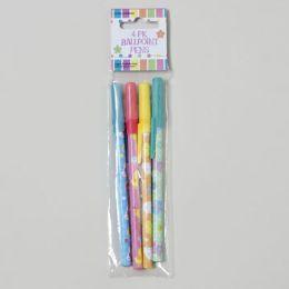 144 Units of Pens Easter/spring 4pk Printed Ballpoint Easter - Easter