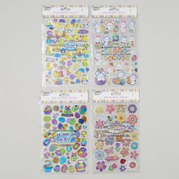 96 Units of Sticker Easter 3ast 3d Designs 50ct Holographic/28ct Metallic Easter Pb Insert Card - Easter