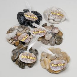 144 Units of River Stone 6asst Styles 16oz Mini & Large Stones Mesh Bag W/hang Tag - Garden Tools
