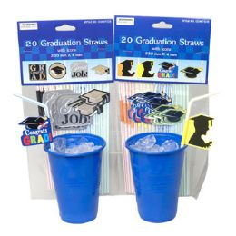 48 Units of Graduation Party Straws 20pk - Graduation