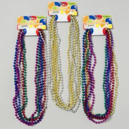 96 Units of Necklace Beaded 6ct Metallic - Necklace