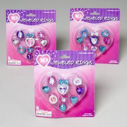 144 Units of Rings Dress-up W/gems 10ct Asst Colors Gov Logo Blister Card - Rings
