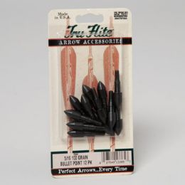144 Units of Arrow Heads Field Point 5/16 100 Grain #729b Made For TrU-Flite - Hardware Products