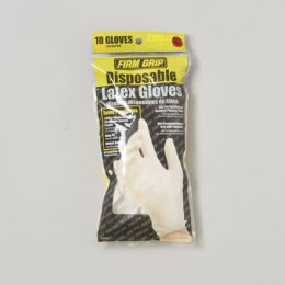 144 Units of Gloves Disposable Latex 10 Ct Bagged Firm Grip - Kitchen Gloves