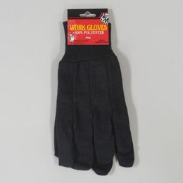 48 Units of 10in 100% Polyester Brown Jersey Work Gloves - Working Gloves