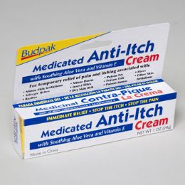 96 Units of Cream Medicated Anti-itch 1oz 5 Panel Color Boxed Budpak - Skin Care