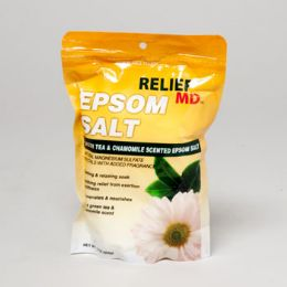 96 Units of Epsom Salt 16 Oz Relief Md Green Tea & Chamomile Scented Made In Usa - Skin Care