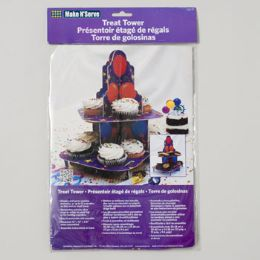 96 Units of Cupcake Stand Treat Tower 8.5x12 Balloon Design Carded - Baking Supplies