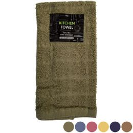 72 Units of Kitchen Towel 15inx25in 100% Cotton 6 Asstd Solid Colors - Towels