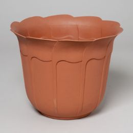 24 Units of Planter 12.25 Inch Round Tulip Design Terra Cotta, Green #3615 No Punched Out Holes - Garden Planters and Pots