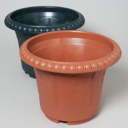 24 Units of Planter 13.5 Round X 10.25h Green, Terra Cotta #hg3007 No Punched Out Holes - Garden Planters and Pots