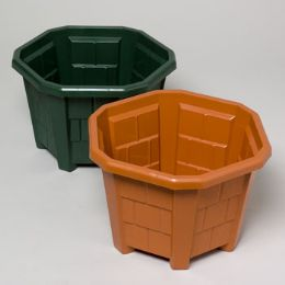 48 Units of Planter Hexagon Shape W/cedar Shake Design Terra Cotta, - Garden Planters and Pots