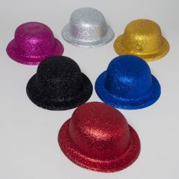 108 Units of Derby Hat W/glitter 6ast Colors Silver/gold/blue/pink/black/red Plastic Upc Label - Costumes & Accessories