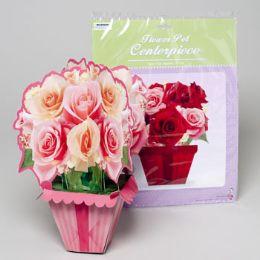 144 Units of Flowerpot Centerpiece 2ast Rose Bouquets 3-d Paper Gov Logo Pb/ins - Party Novelties