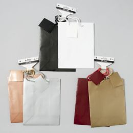 108 Units of Gift Bag 2pk Med Emboss Lizard 3 Solid Color Combos - Gift Bags