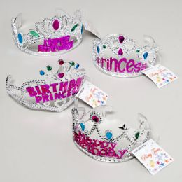 192 Units of Tiara Crown Happy Birthday Or Princess/pink Or Purple 48pc Pdq Gov Party Hangtag - Costumes & Accessories