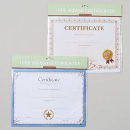 144 Units of Award Certificates 10pk 11x8.5in 2asst Styles Gov Polybag/header - Classroom Learning Aids