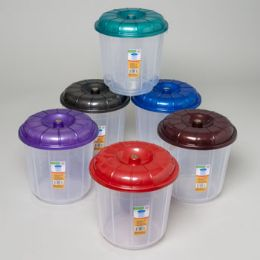 96 Units of Bucket With Lid 3 Qt Clear Bottom/6 Metallic Color Lids - Buckets & Basins