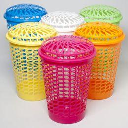 12 Units of Laundry Hamper W/lid Open Slots 6 Colors - Laundry Baskets & Hampers