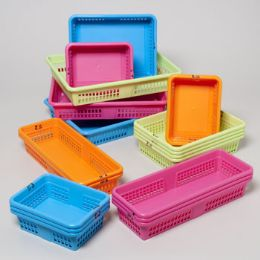56 Units of Office Basket Display 4 Colors 4 Sizes #8600 Colors: Orange, Blue, Green, Pink - School Supply Kits